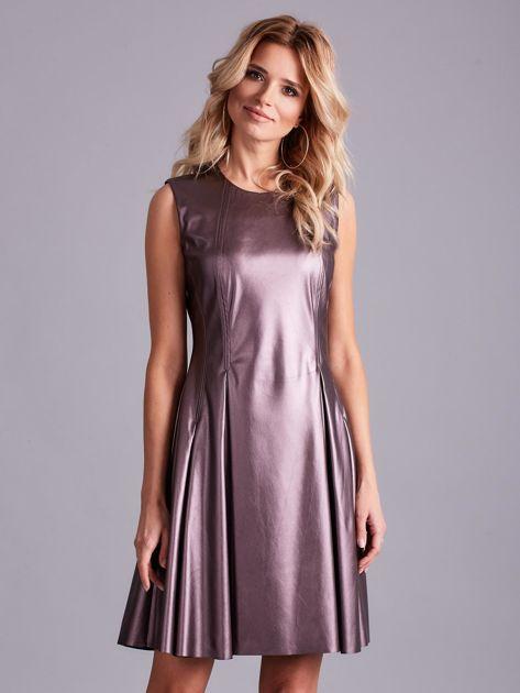 Fioletowa sukienka z ekoskóry                              zdj.                              1