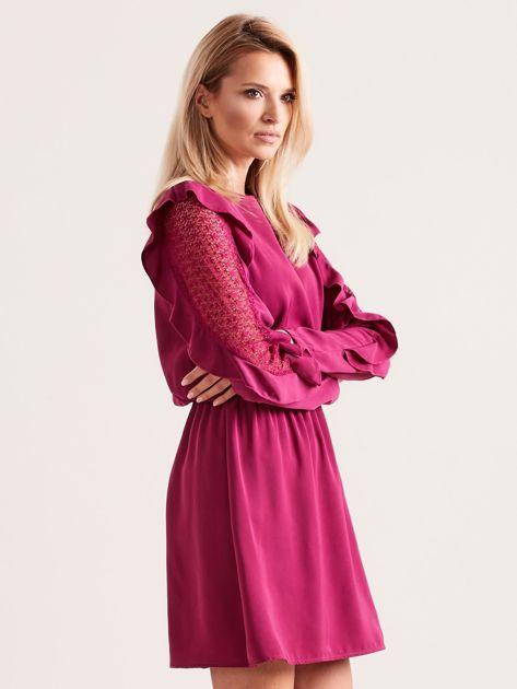 Fioletowa sukienka z falbanami na rękawach                              zdj.                              3