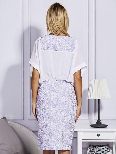 Fioletowa sukienka z luźnymi rękawami                               zdj.                              2