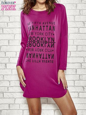 Fioletowa sukienka z napisem NEW YORK CITY                                  zdj.                                  1