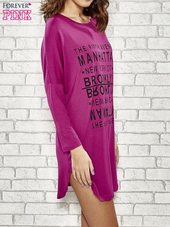 Fioletowa sukienka z napisem NEW YORK CITY                                  zdj.                                  3