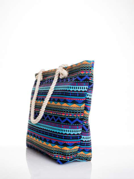 Fioletowa torba plażowa w azteckie wzory                                  zdj.                                  4