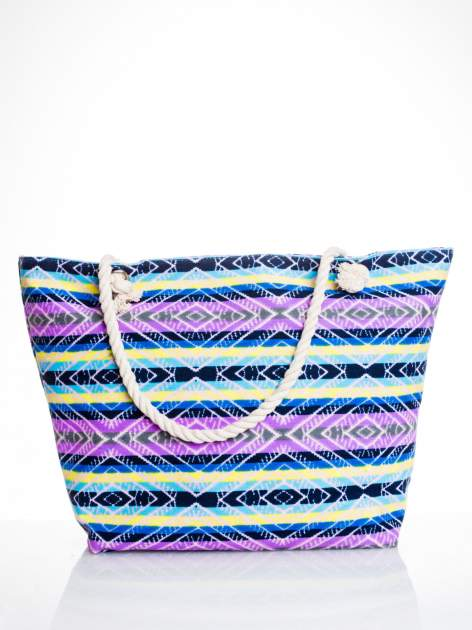 Fioletowa torba plażowa w azteckie wzory                                  zdj.                                  1
