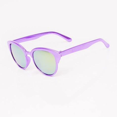 Fioletowe Lustrzane Dziecięce Okulary przeciwsłoneczne Z Metalicznym Połyskiem                              zdj.                              2