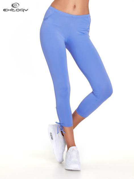 Fioletowe legginsy sportowe termalne z dżetami i ściągaczem                                  zdj.                                  1