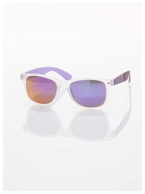 Fioletowe  lustrzanki z filtrami UV okulary z klasyczną oprawką WAYFARER NERD z efektem mlecznej szyby -odporne na wyginania