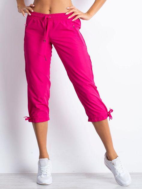 Fioletowe spodnie sportowe capri z siateczką                                  zdj.                                  1