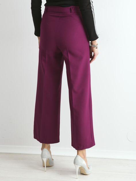 Fioletowe szerokie spodnie z wiązaniem                              zdj.                              2