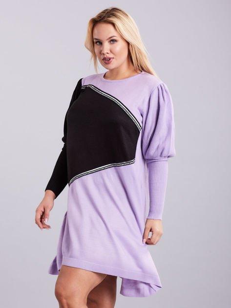Fioletowo-czarna sukienka dzianinowa PLUS SIZE                              zdj.                              3