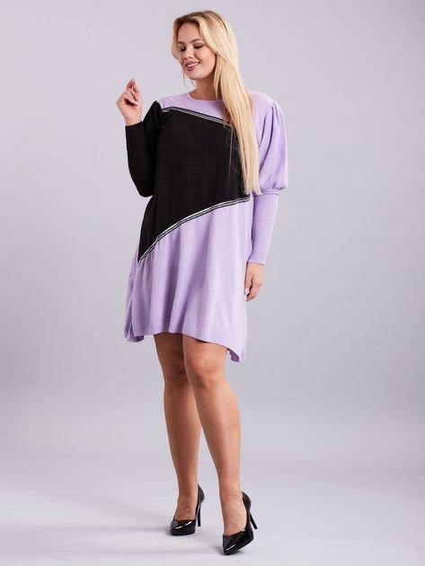 Fioletowo-czarna sukienka dzianinowa PLUS SIZE                              zdj.                              4