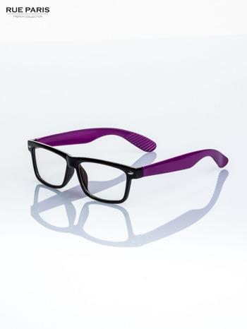 Fioletowo-czarne okulary zerówki kujonki typu WAYFARER NERDY                                  zdj.                                  1