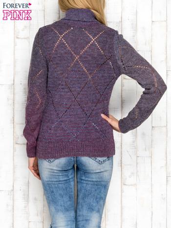 Fioletowy ażurowy sweter z golfem                                  zdj.                                  2