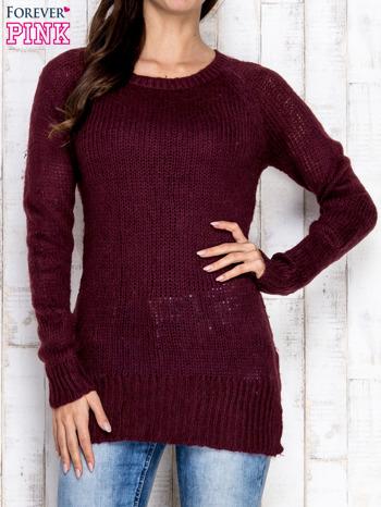 Fioletowy dzianinowy sweter o szerokim splocie                                  zdj.                                  1