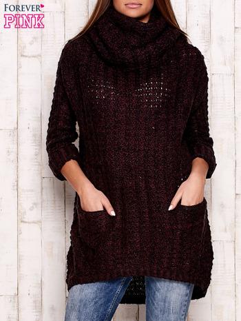 Fioletowy melanżowy sweter z szerokim golfem i kieszeniami                                   zdj.                                  1