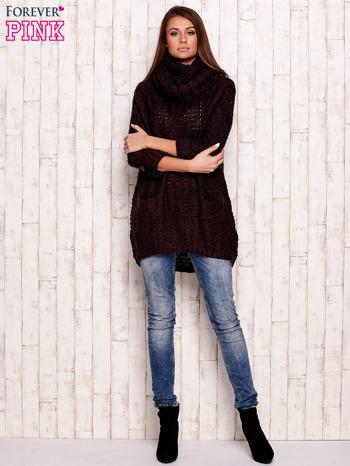 Fioletowy melanżowy sweter z szerokim golfem i kieszeniami                                   zdj.                                  2