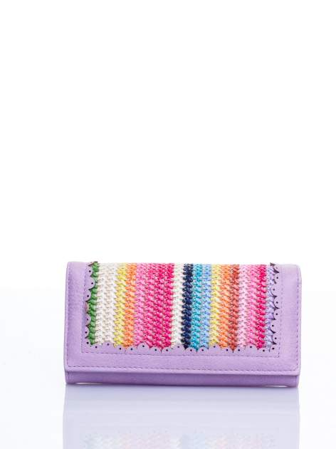 Fioletowy portfel z ażurowaniem i plecionką