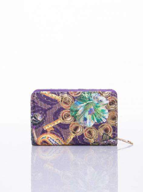 Fioletowy portfel z kwiatowymi motywami                                  zdj.                                  2
