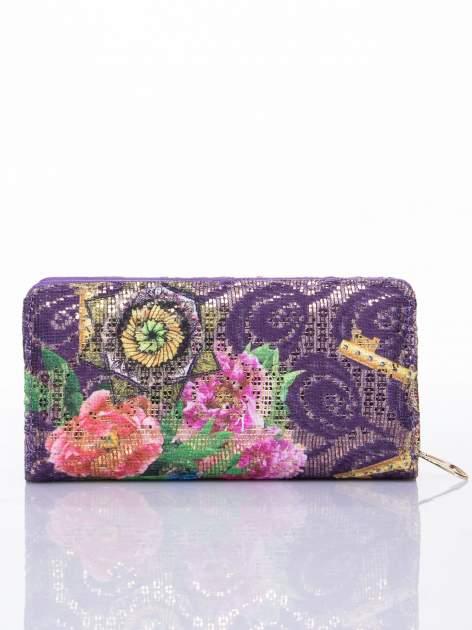 Fioletowy portfel z nadrukiem paisley                                  zdj.                                  2