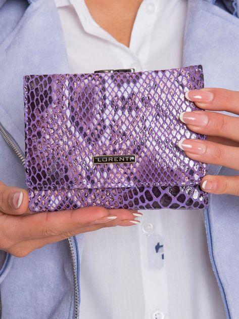 Fioletowy portfel ze skóry