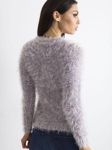 Fioletowy sweter z długim włosem i cekinami                              zdj.                              2