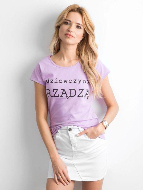 Fioletowy t-shirt damski z napisem                              zdj.                              1