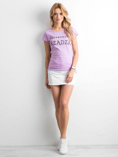 Fioletowy t-shirt damski z napisem                              zdj.                              4