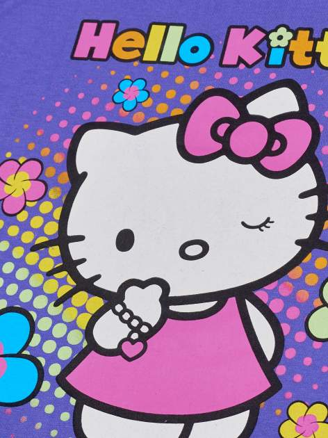 Fioletowy t-shirt dla dziewczynki HELLO KITTY z wiązaniem na dole                                  zdj.                                  3