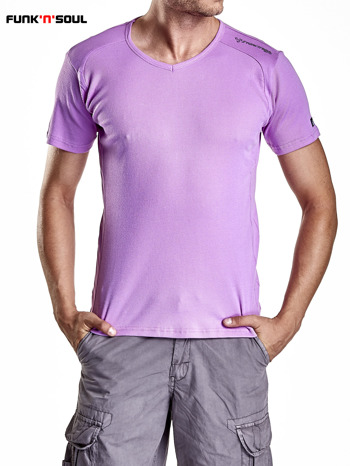 Fioletowy t-shirt męski w prążki Funk n Soul                              zdj.                              5