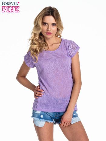 Fioletowy t-shirt z koronkowym tyłem i dżetami                                  zdj.                                  1