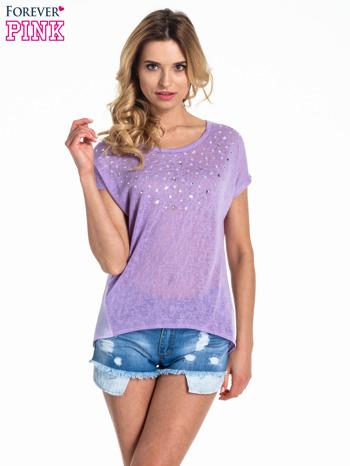 Fioletowy t-shirt z kryształkami                                  zdj.                                  1