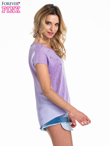 Fioletowy t-shirt z kryształkami                                  zdj.                                  3