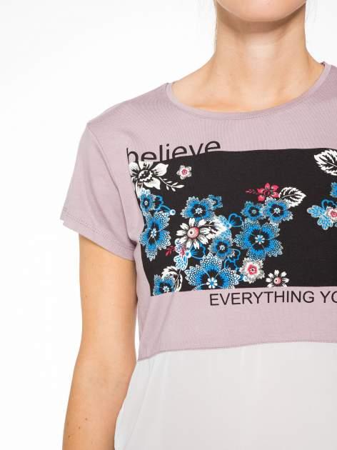 Fioletowy t-shirt z siateczkowym białym dołem                                  zdj.                                  6