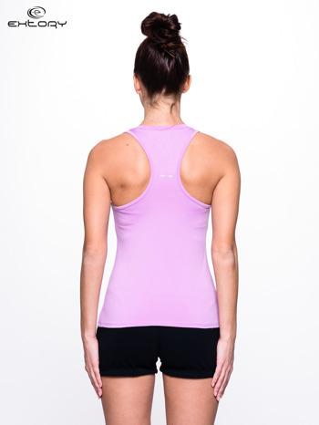 Fioletowy top fitness z dekoltem V