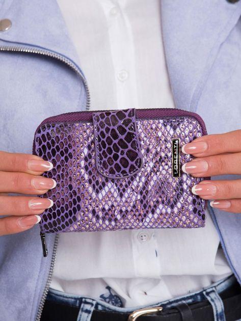 Fioletowy wzorzysty portfel ze skóry