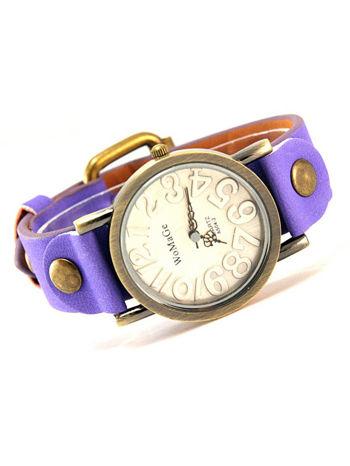 Fioletowy zegarek damski na pasku z tarczą z miedzianego złota                                  zdj.                                  1