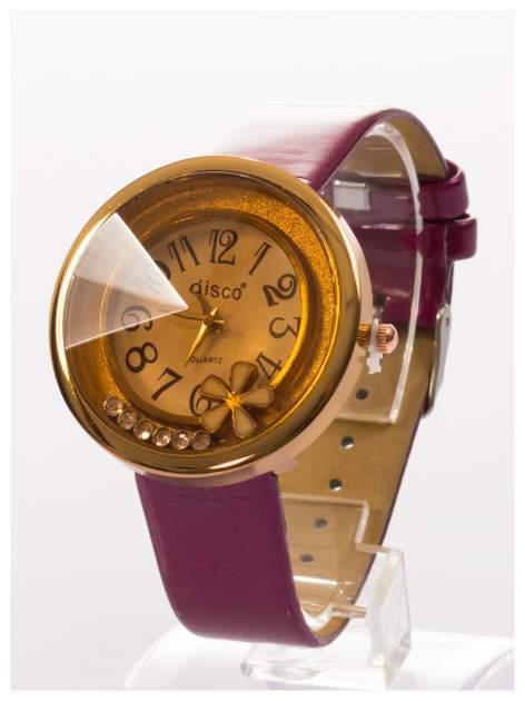 Fioletowy zegarek damski z cyrkoniami na skórzanym, lakierowanym pasku                                  zdj.                                  2