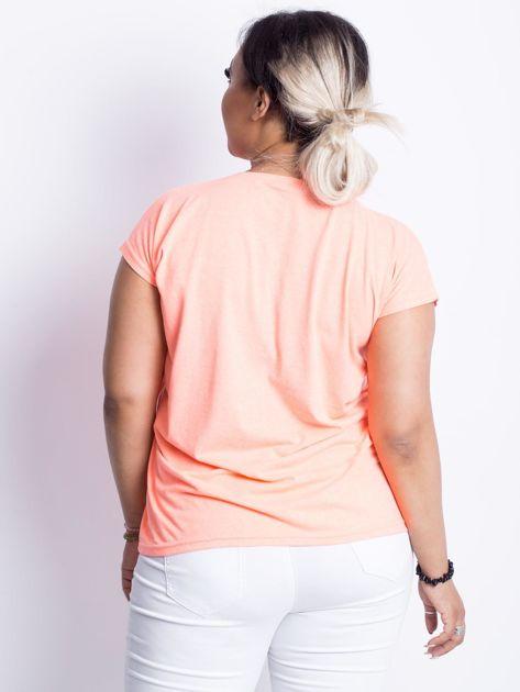 Fluo brzoskwiniowy t-shirt plus size Moonraker                              zdj.                              2