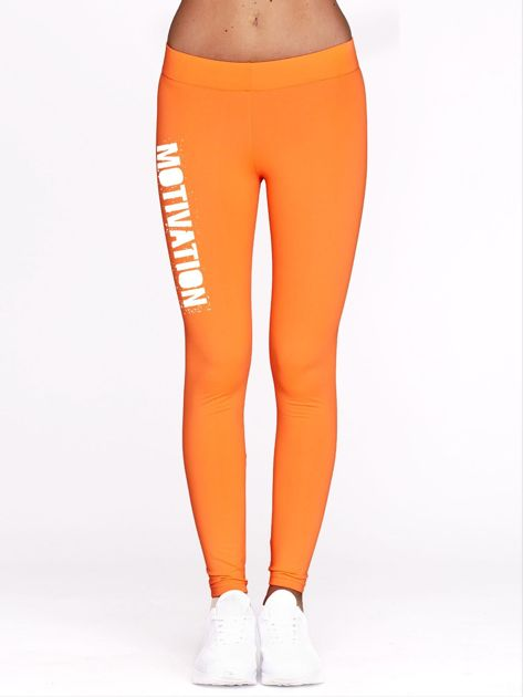 Fluo pomarańczowe legginsy na siłownię z motywującym hasłem                                  zdj.                                  2