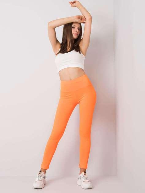 Fluo pomarańczowe legginsy sportowe Leffy
