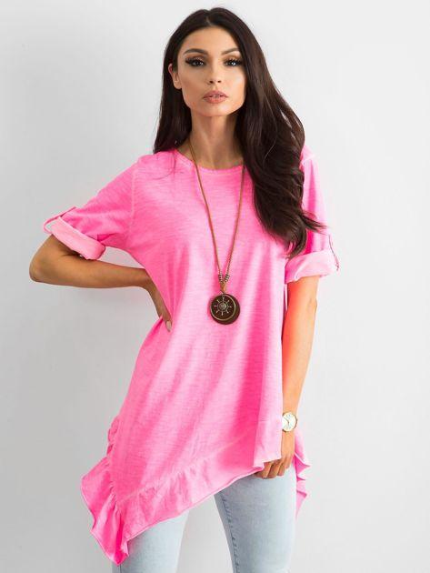 Fluo różowa asymetryczna tunika                              zdj.                              1