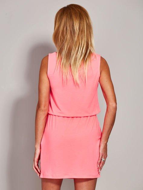 Fluo różowa sukienka z troczkami                                  zdj.                                  2