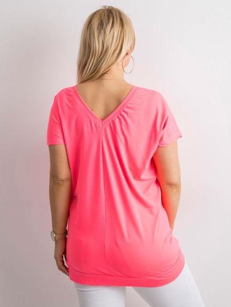 Fluo różowa tunika z dekoltem na plecach                              zdj.                              2