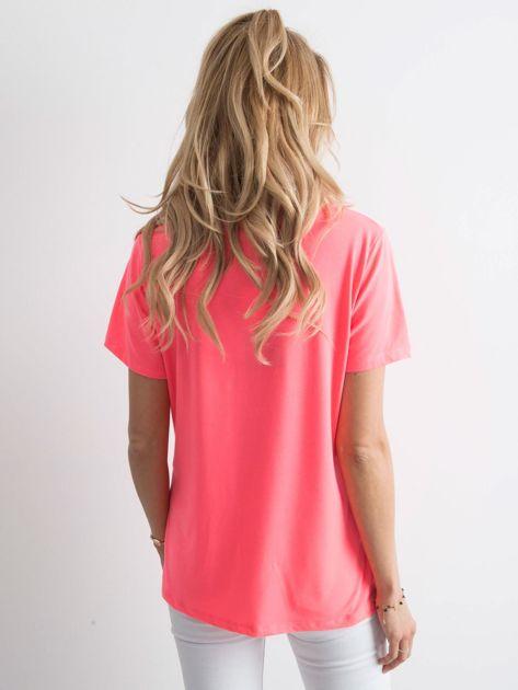 Fluo różowy t-shirt z aplikacją                              zdj.                              2