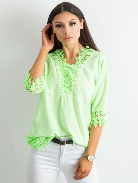 Fluo zielona bluzka z koronką                              zdj.                              1