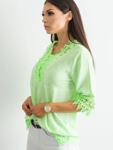 Fluo zielona bluzka z koronką                              zdj.                              3