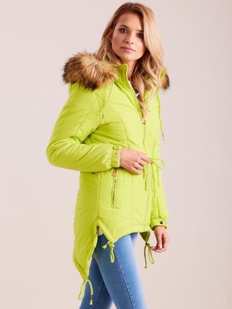 Fluo zielona damska kurtka na zimę                              zdj.                              3