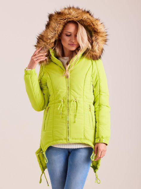 Fluo zielona damska kurtka na zimę                              zdj.                              5
