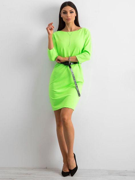 Fluo zielona sukienka z bawełny                              zdj.                              4