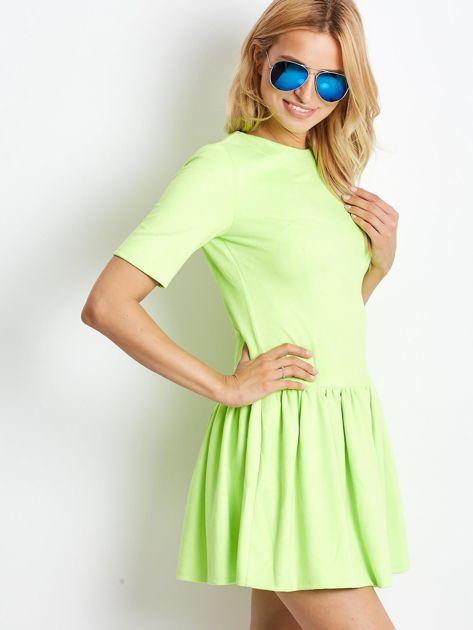 Fluo zielona zamszowa sukienka                              zdj.                              1