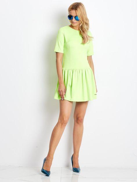 Fluo zielona zamszowa sukienka                              zdj.                              4